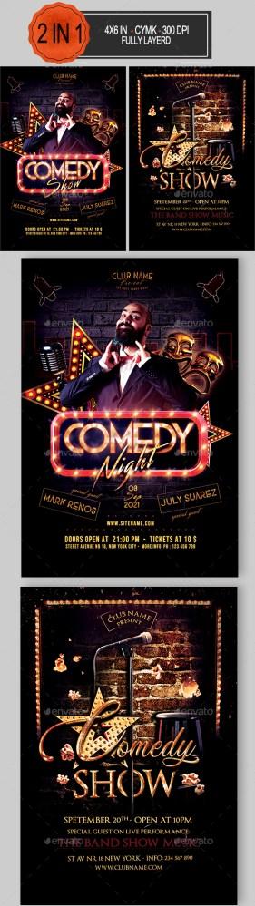 Flyers PSD – Comedy Flyer Bundle  – Download