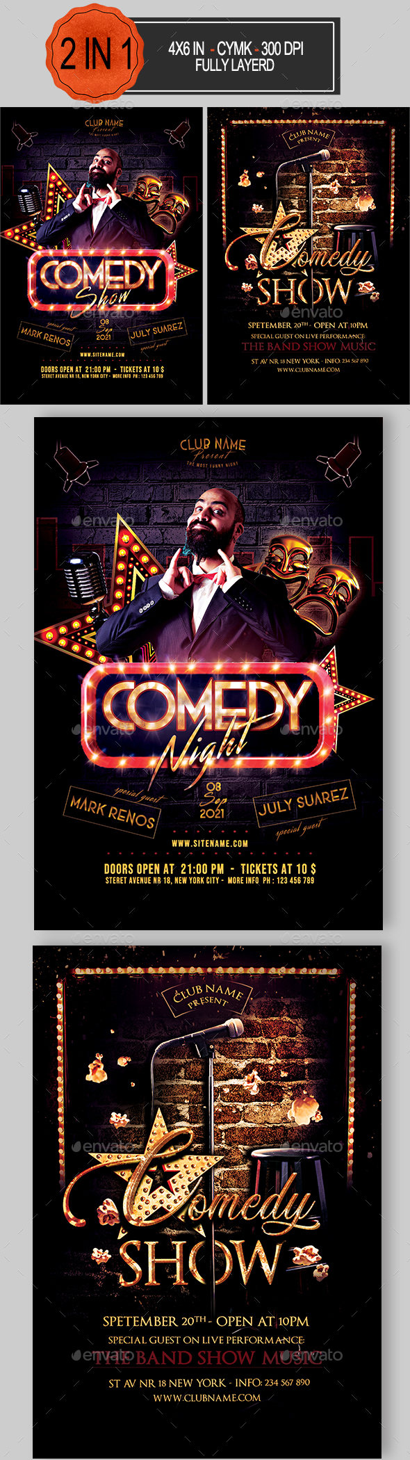 Flyers PSD – Comedy Flyer Bundle  – Download