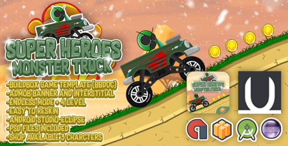 Huge Heroes Monster Truck + Admob (BBDOC + Eclipse + Android Studio)  – PHP Script Download