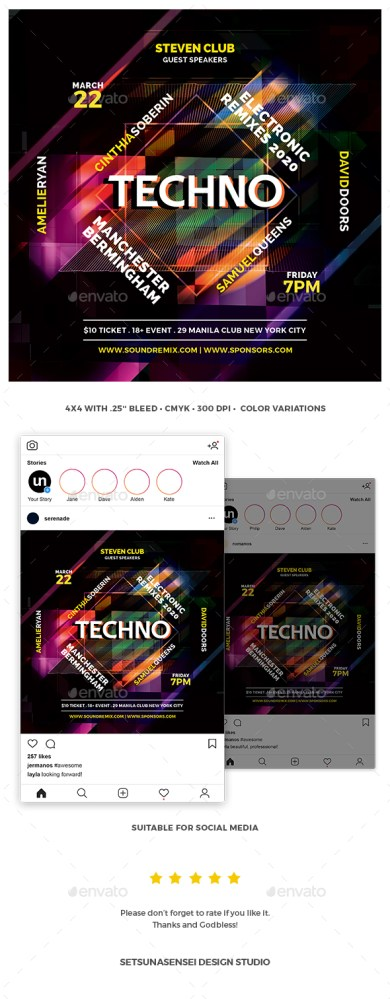 Flyers PSD – Techno Flyer  – Download