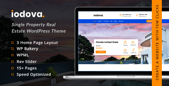 Iodova – Single Property Genuine Estate WordPress Theme  – WP Theme Download