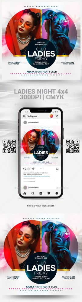 Flyers PSD – Ladies folks Evening Flyer Template  – Download