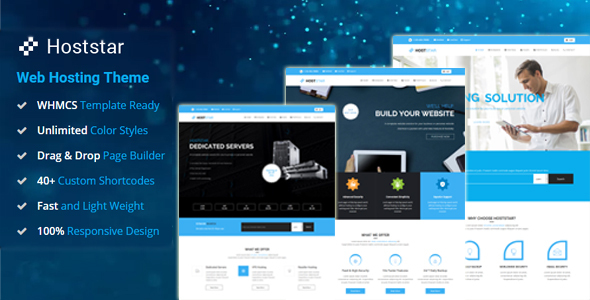 HostStar – WP Theme for Web hosting, web page positioning and Web Form Industry  – WP Theme Download