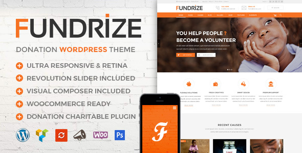 Fundrize | Responsive Donation & Charity WordPress Theme – WP Theme Download
