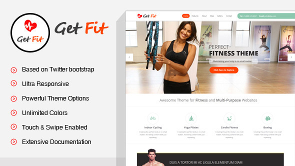 GetFit – Fitness Gymnasium WordPress Theme – WP Theme Download