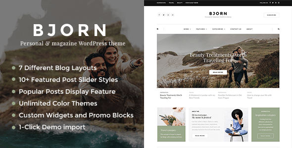 bjorn responsive wordpress deepest blog theme download