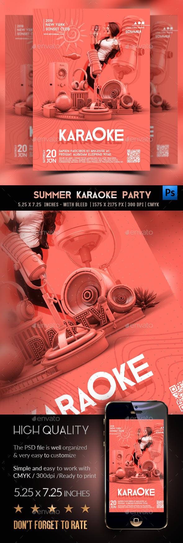 Flyers PSD – Karaoke Birthday celebration Flyer – Download