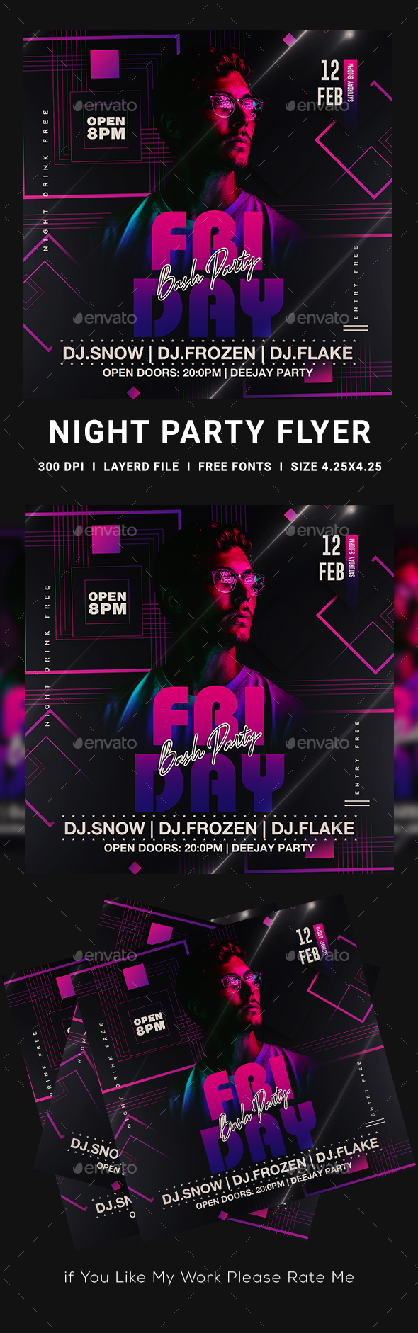 Flyers PSD – Girls folks Night time Flyer Template – Download