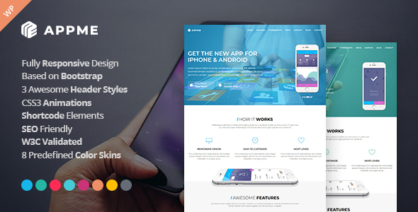 appme app landing page wordpress theme download