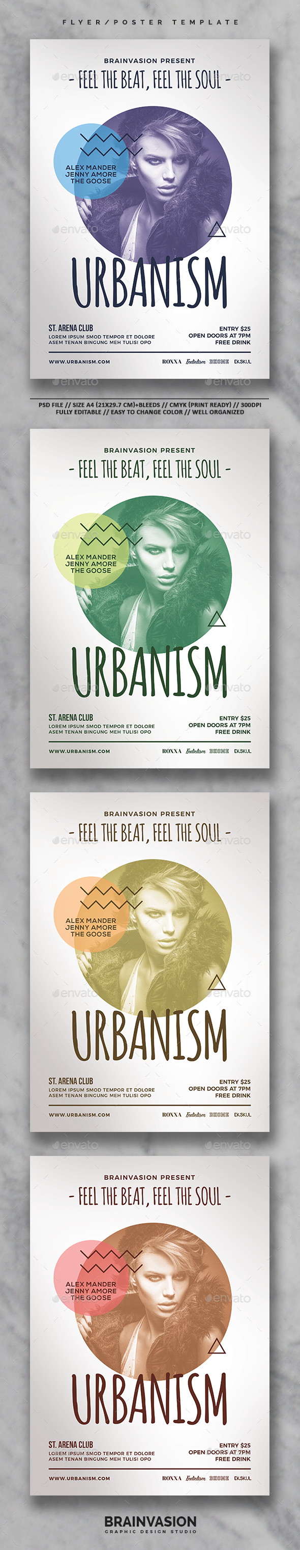 hipster flyer poster template vol 05 download