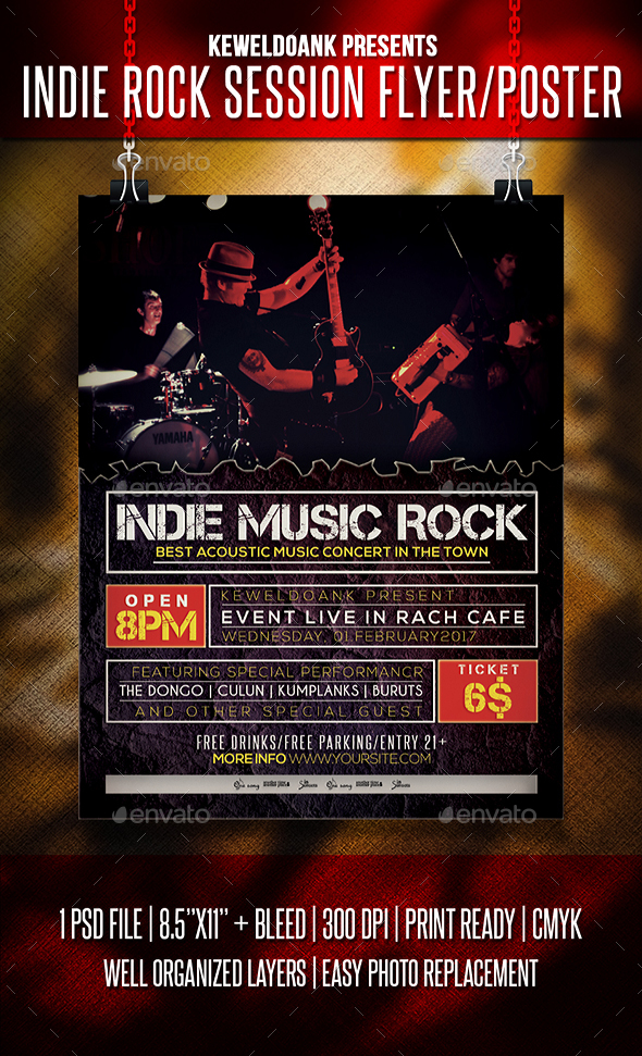 indie rock session flyer poster download