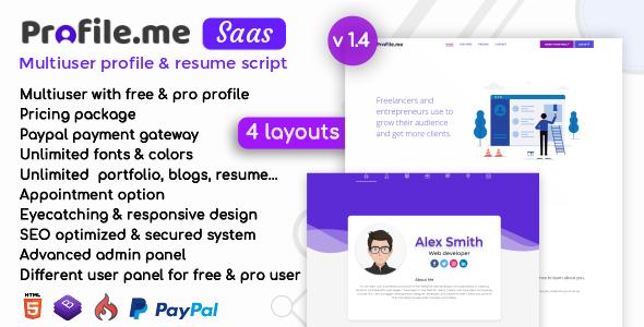 profile me saas multiuser profile resume script download