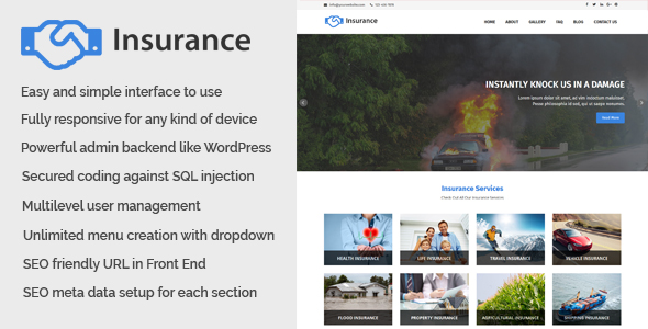 Insurance – Business and Insurance Web set up of abode CMS – Download