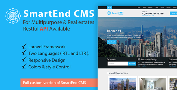 SmartEnd CMS for multipurpose & real estate with Restful API – Download