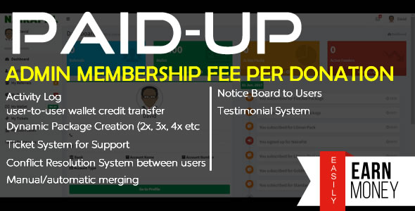 PaidUp – Look-to-Look Donation (Membership Rate/Transaction) Intention with Referral & CryptoCurrencies – Download