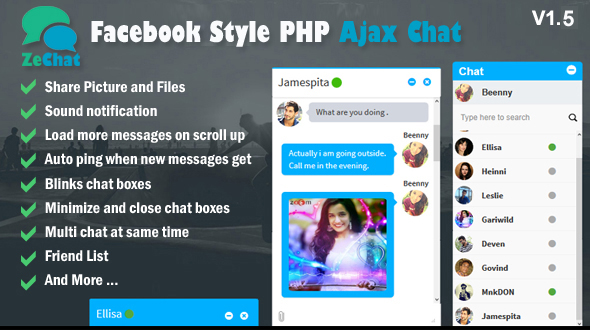 Facebook Style Php Ajax Chat – Zechat – Download
