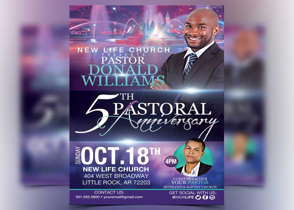 Anniversary Flyer   Pastor Anniversary Flyer Template Flyerthemes