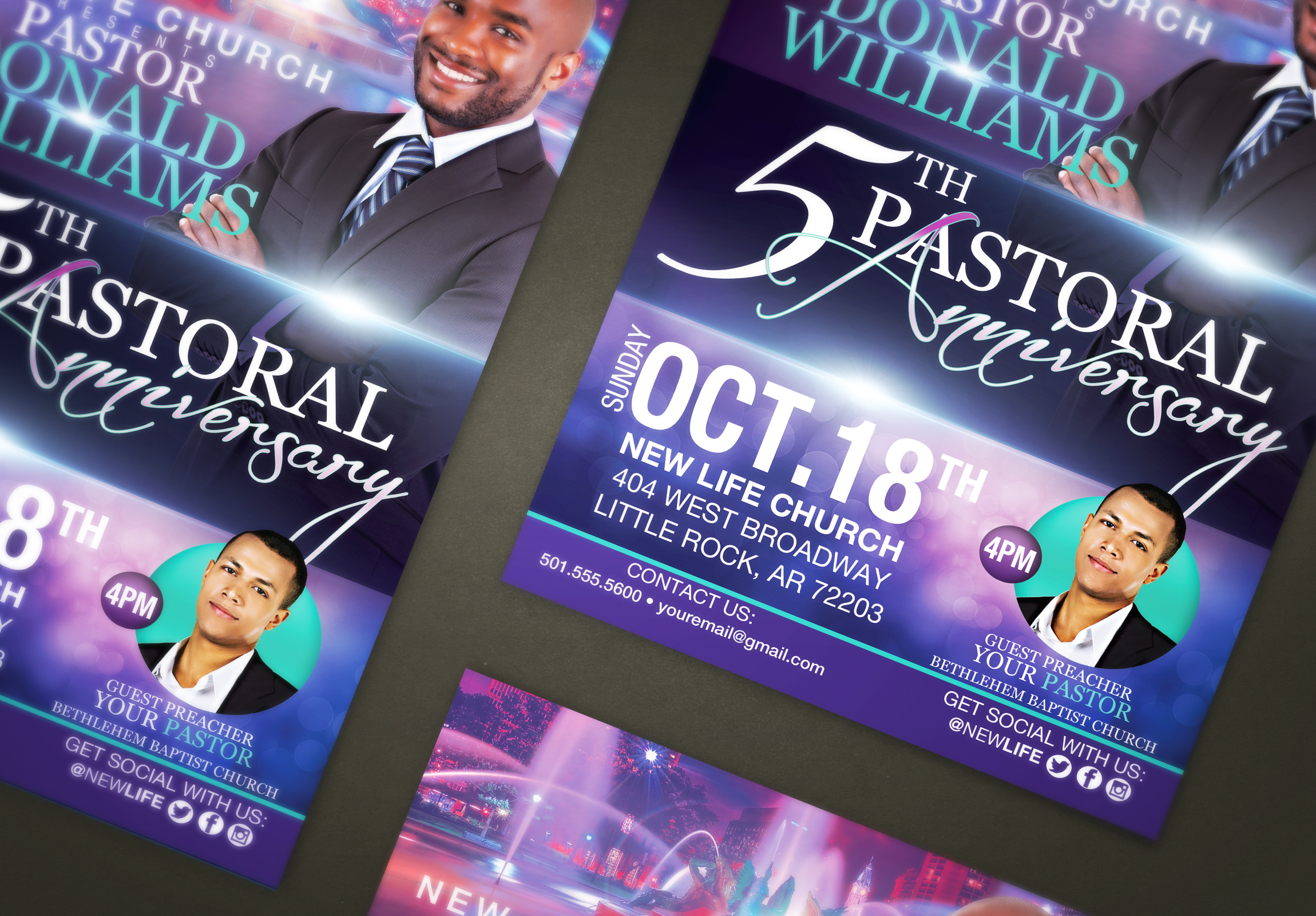 Pastor Anniversary Flyer Template | FlyerThemes