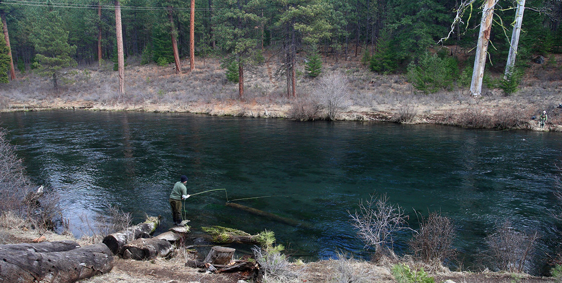 Two flyfishermen on the Metolius River in Camp Sherman, OR.