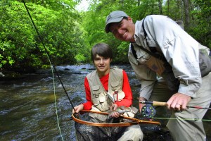 Kids Fly Fishing Great Smoky Mountains National Park Pigeon Forge Gatlinburg Bryson City,