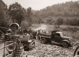 CCC's building roads in the Smoky Mountains