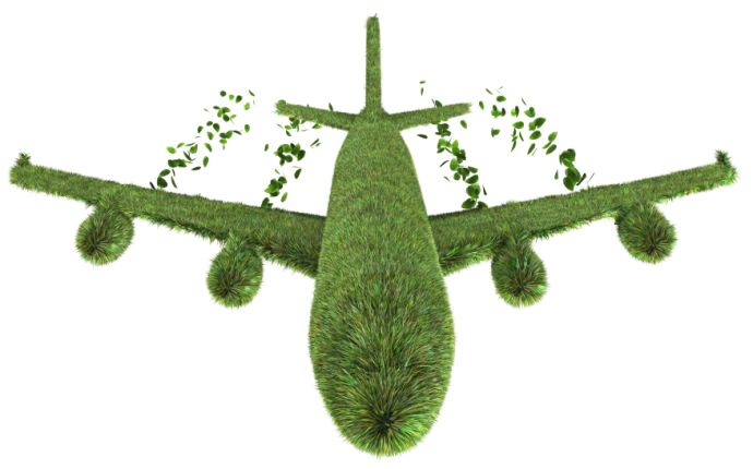 3D render of ecological air travel concept isolated on white