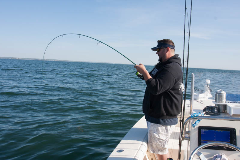 Craig hooked up on a Cape Cod Black Sea Bass