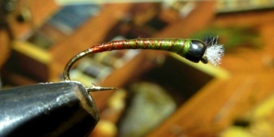 Screaming Viking Green Red Butt Chironomid Pupa Fly Pattern