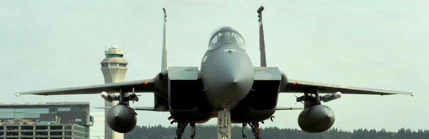 An F-15C Eagle, assigned to the 142nd Fighter Wing, Oregon Air National Guard, returns to the Portland Air National Guard Base, Ore., after an afternoon training flight, Sept. 16, 2014. The 142nd Fighter Wing is one of 14 alert sites positioned around the United States that conducts the aerospace control alert mission, part of the North America Aerospace Defense Command (NORAD)