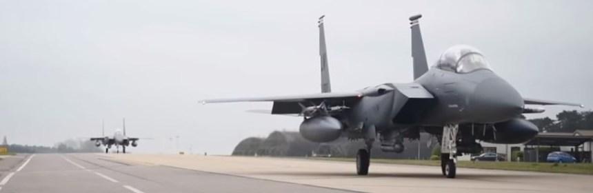 USAFE F-15s Lakenheath taking off from RAF Lakenheath