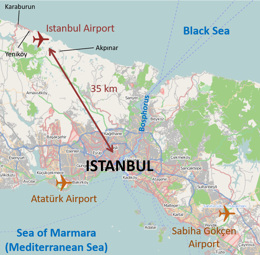 Istanbul International Airport Location Map