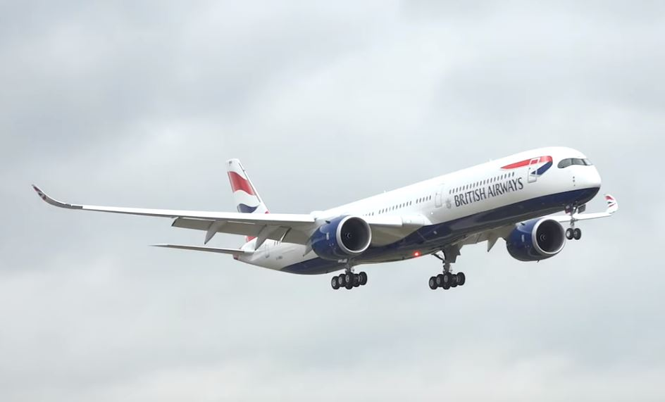 First landing of British Airways A350 at Heathrow Airport