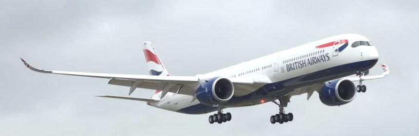 First landing of British Airways A350 at Heathrow Airport