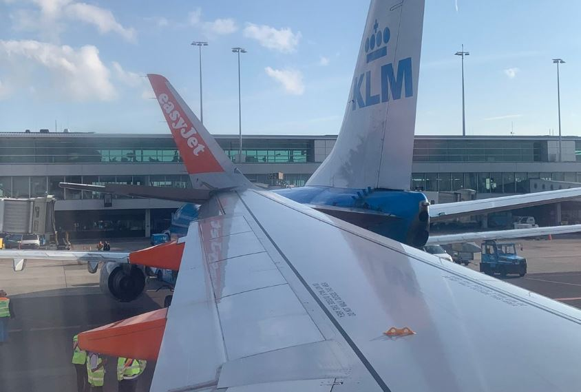 KLM B737 and easyJet A320 collided at Amsterdam Airport Schiphol