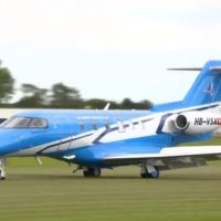 PILATUS PC-24 BUSINESS JET LANDS ON GRASS RUNWAY