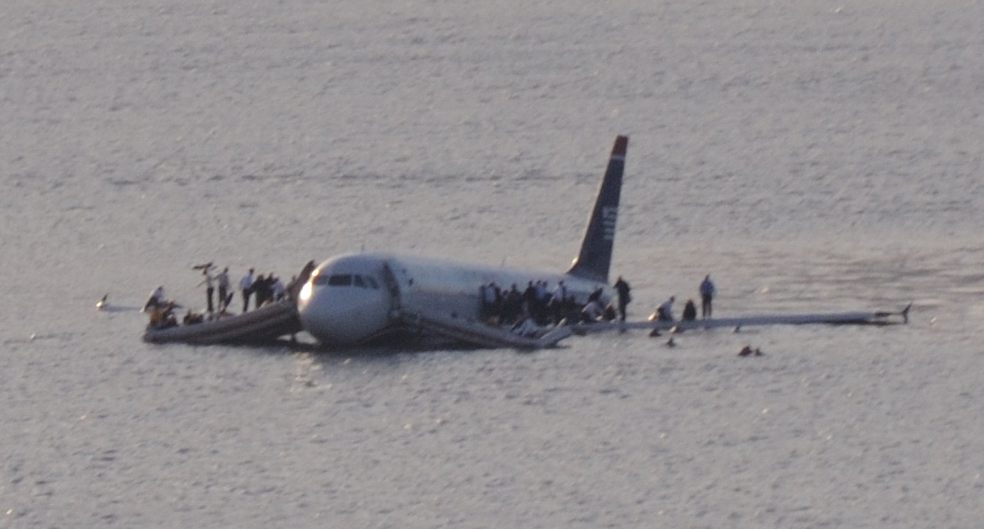 US Airways Flight 1549 after crashing into the Hudson River