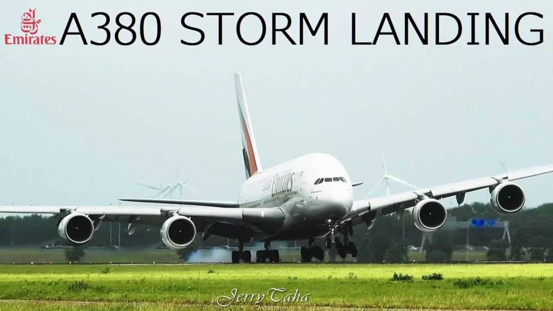 Emirates A380 Impressive Storm Landing at Amsterdam Airport