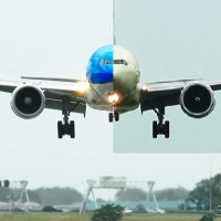VIDEO - KLM AND ETIHAD BOEING 777 BATTLING A STORM AT AMSTERDAM AIRPORT