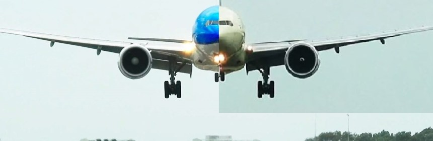 KLM and Etihad Boeing 777 Battling a Storm at Amsterdam Airport