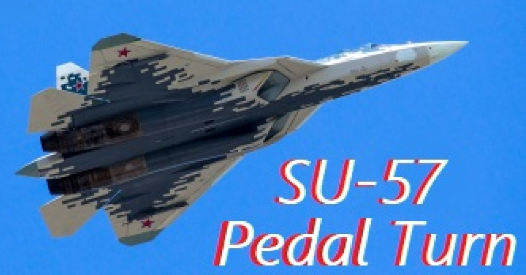 Su-57 performing a perfect Pedal Turn at MAKS 2019