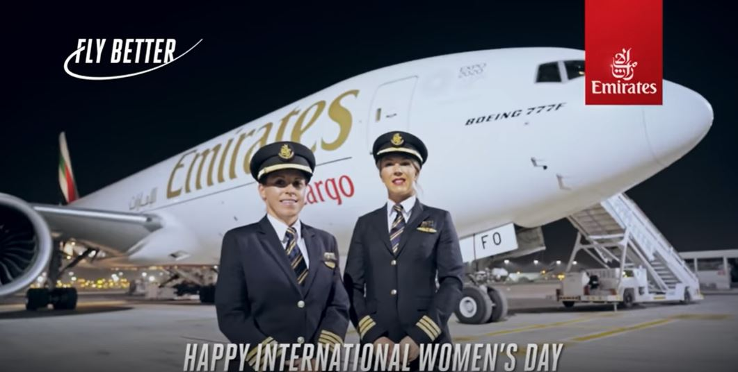 Female pilots fly Emirates SkyCargo Boeing 777 Freighter to 4 continents on International Women's Day