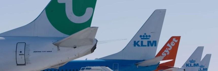 Many parked aircraft at Amsterdam Airport due to corona crisis