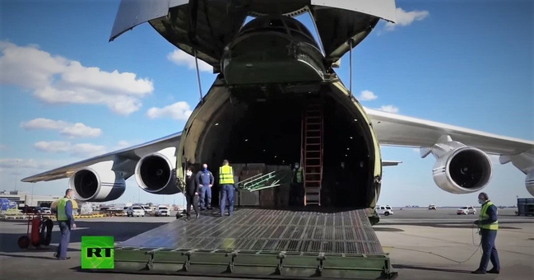Russian AF An-124 lands in NYC with medical supplies