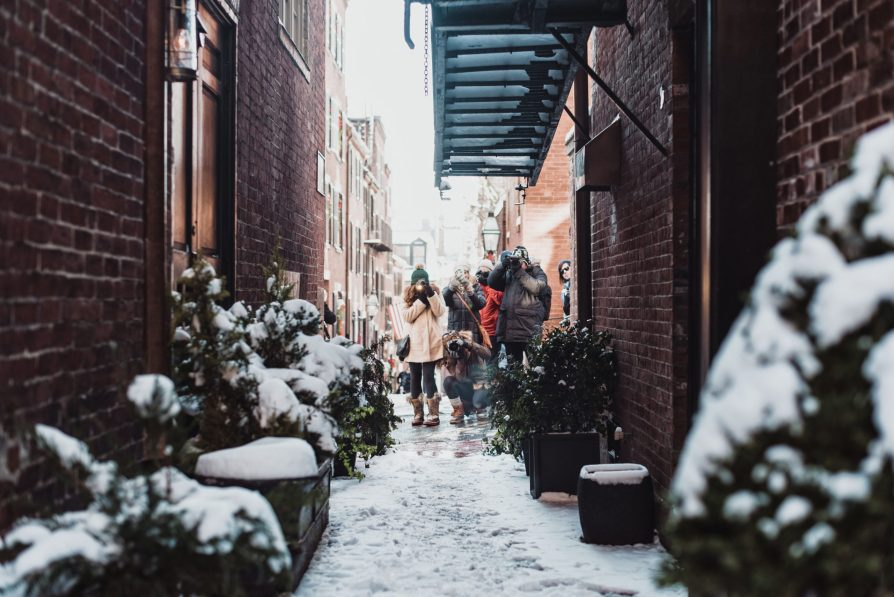 girl standing in between buildings surrounded by plants covered with snow