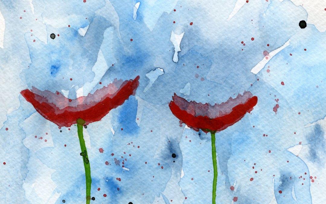 Poppies on a abstract background