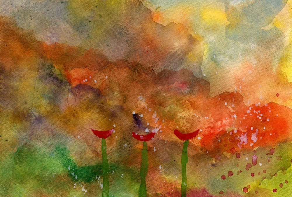 Poppies and abstract landscape