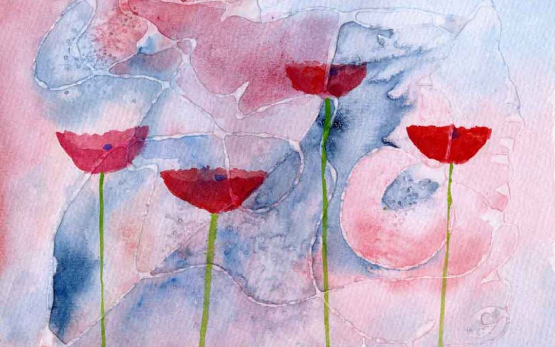 Poppies on abstract – Daily Painting #862 (SOLD)