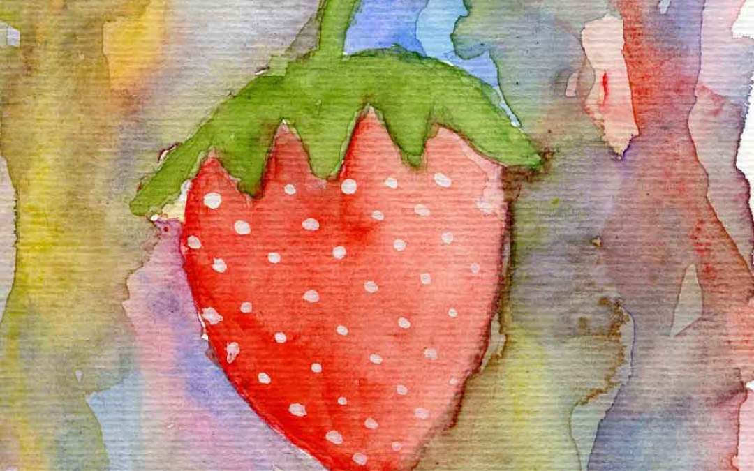 Strawberry on abstract – Daily painting #907
