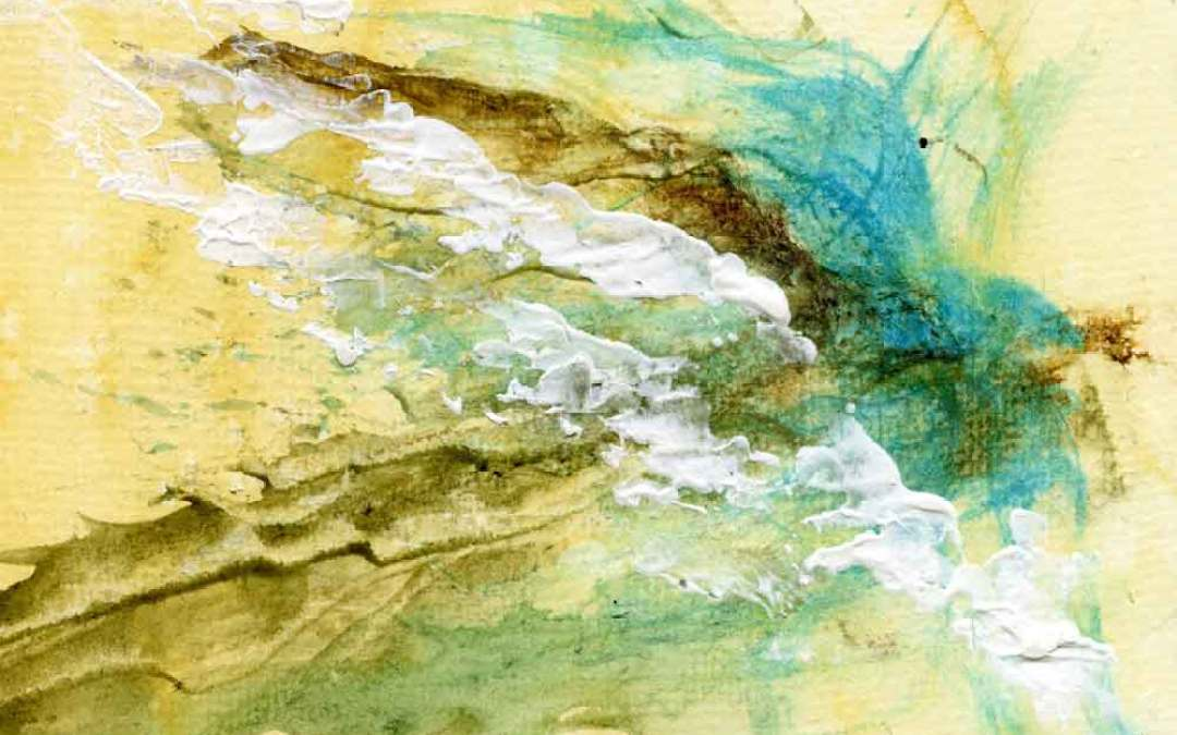Yellow, brown and blue abstract – Daily painting #1068 (SOLD)