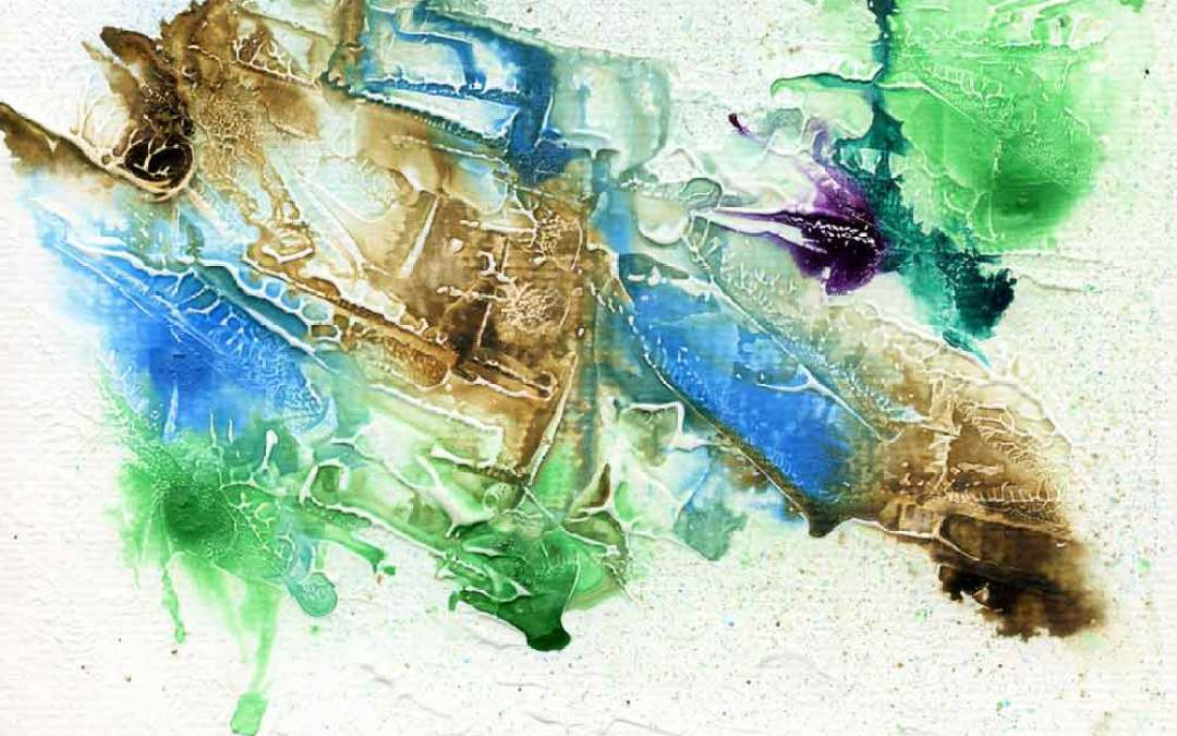 Green, blue and brown abstract – Daily painting #1089